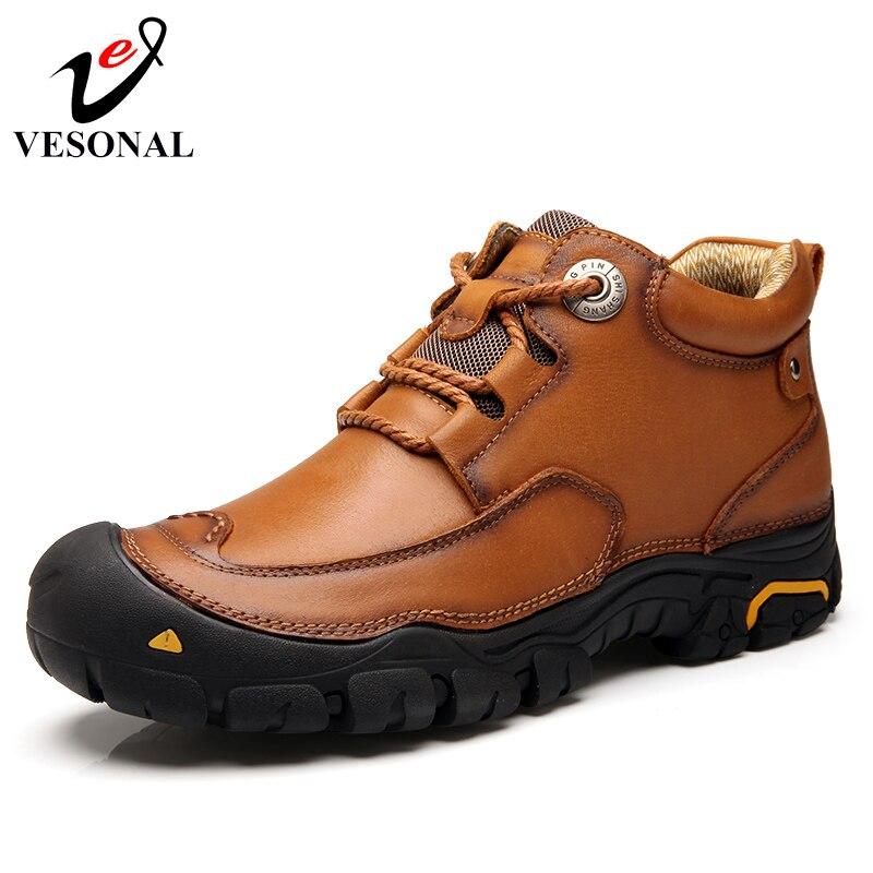 VESONAL جلد طبيعي الذكور الأحذية للرجال حذاء كاجوال الكبار 2018 الشتاء الدافئة الفراء أحذية رياضية المشي العمل حذاء المطاط غير زلة-في أحذية رجالية غير رسمية من أحذية على  مجموعة 1
