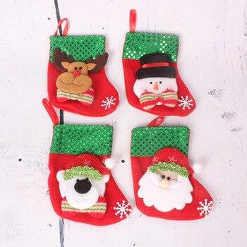 Gifts Sacks Candy Bags Cartoon Stockings Christmas Tree Decor Santa Claus Snowman Deer Bear lin4345