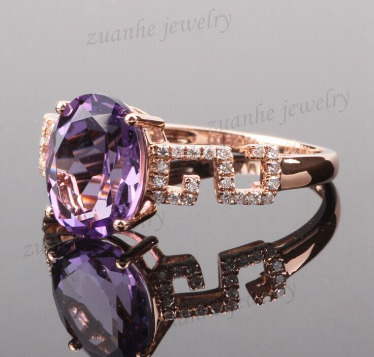 Solid 14k Rose Gold Diamonds 8X10mm Oval Cut Natural Amethyst Ring Generous Engagement Ring Gemstone Ring For Women Fine Jewelry real 18k gold natural amethyst ring for women oval cut big gemstone jewelry modern stylish