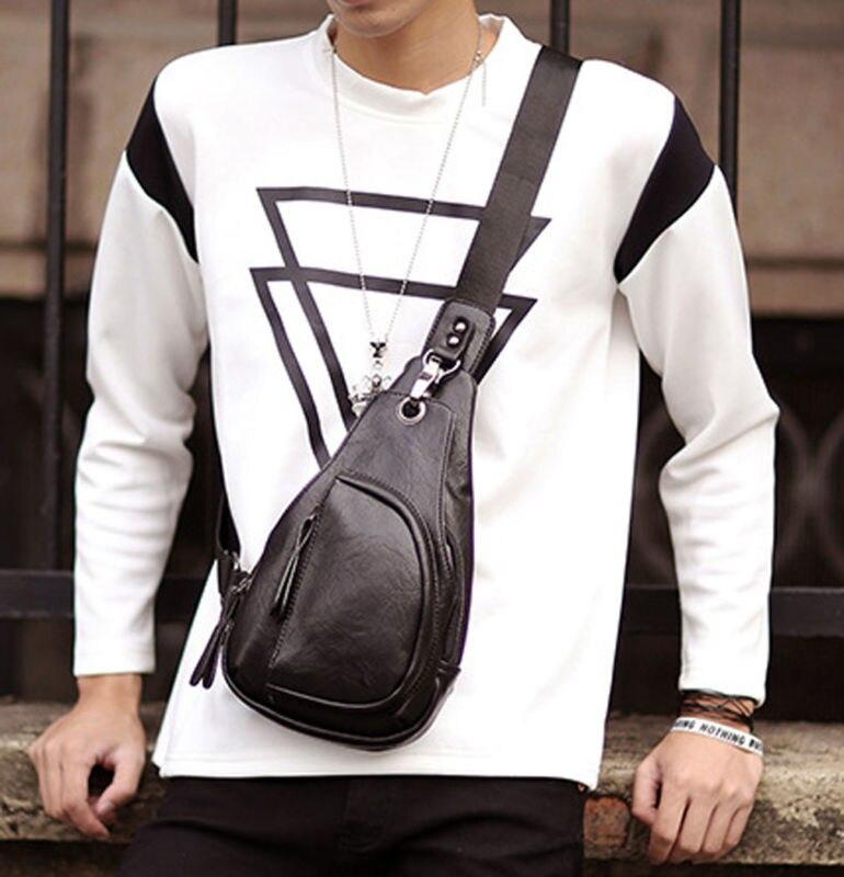 Bag Leather Sling Chest Vintage Pack New Bag Shoulder Faux Men's Messenger string sling pack