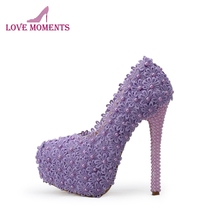 Purple Lace Flower Wedding Shoes Handmade Pearl Beading Bridal High Heels  Shoes Beautiful Bridesmaid Pumps Women 56aad87a51da