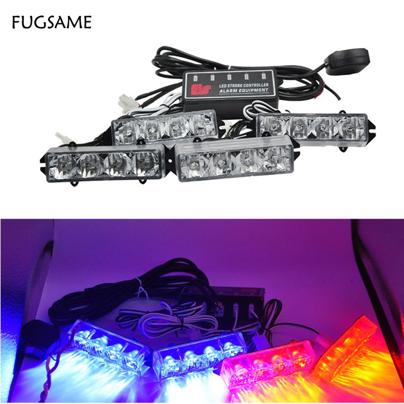 FUGSAME Car 51035led motorcycle flash light Strobe  Warning EMS Police Truck  Flashing Firemen Lights Red Blue White Green Amber tg wg01 truck led red and blue flashing warning lights strobe light fog lights taillights