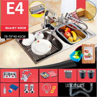 Новое поступление бытовые 304 Нержавеющаясталь утолщение Кухня моек высокого качества с двойной раковиной, с тонкой Медь кран E4 81*43 см для у