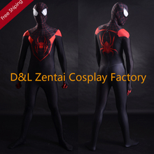 Free Shipping DHL 3D Printing Ultimate Miles Morales Spider-Man Costume Fullbody Lycra Spandex Suit Halloween Costume SP067