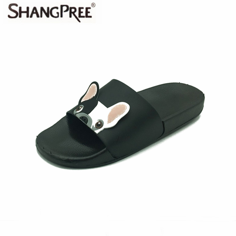 SHANGPREE New Fashion Animal Bulldog Slippers Summer Sandals Flip Flops Beach Shoes Outside Funny Bathroom Floor Home slippers 2018 summer new arrived fashion men outside beach slippers thick sole comfortable flip flops waterproof non slip home floor shoe