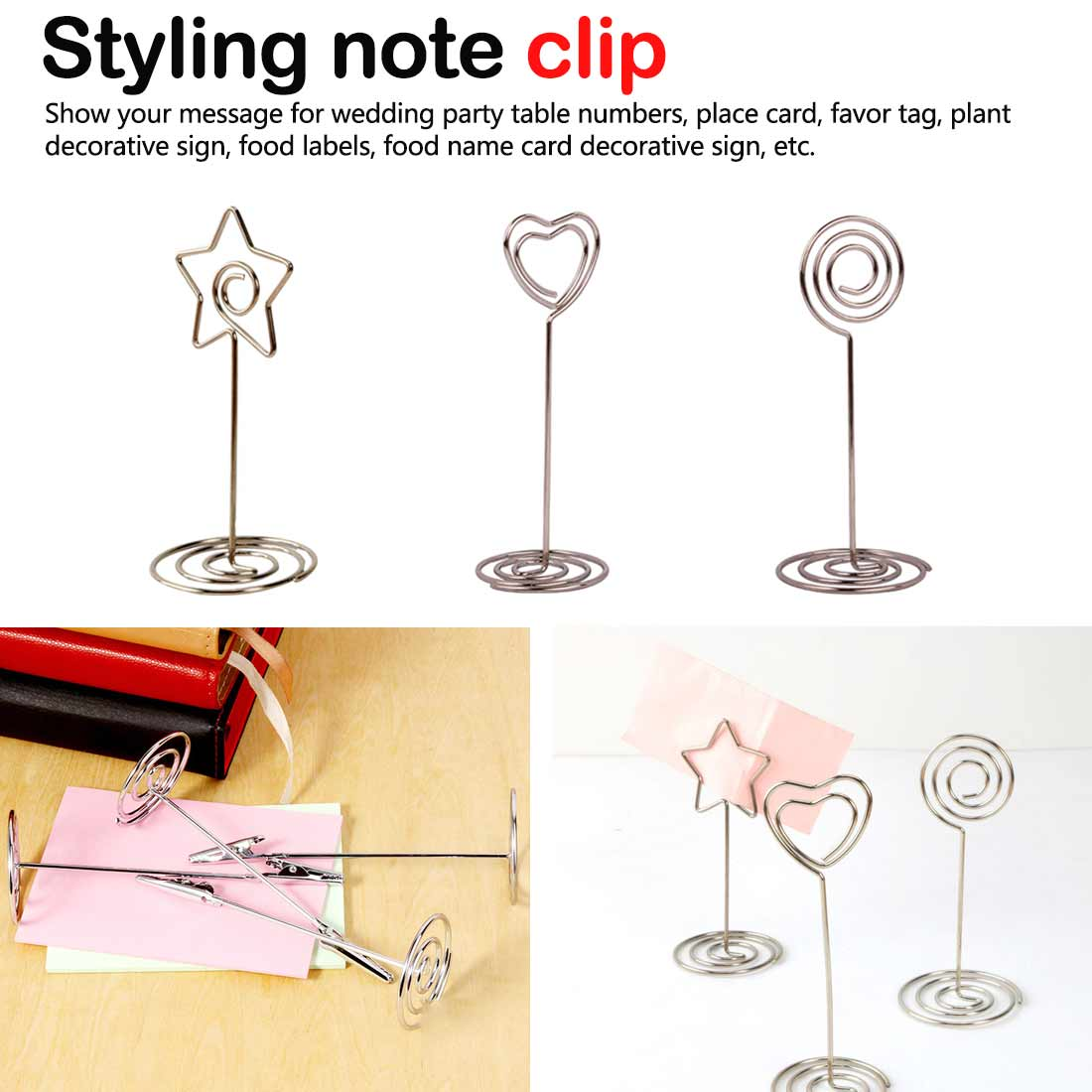 Desk Notes Folder Heart Shape Clips Wedding Favors Place Card Holder Table Photo Memo Number Name Clips Message Clips