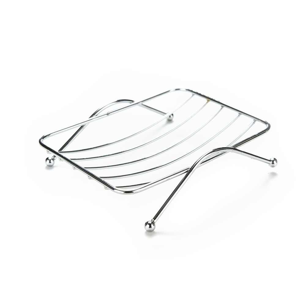 Kualitas Tinggi 12.5*9*3.5Cm Stainless Steel Sabun Berdiri Pemegang Kamar Mandi Fungsional Stainless Sabun Hidangan Kotak Tray