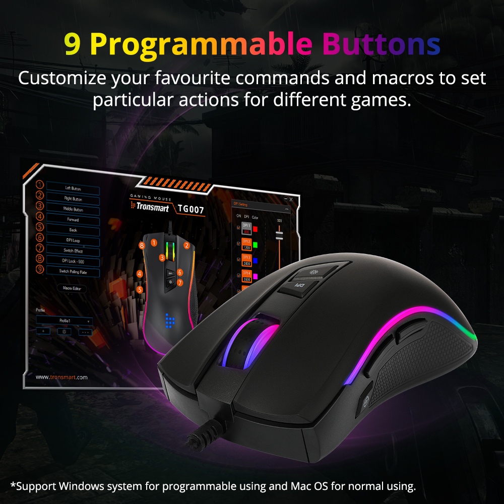 Image 4 - Tronsmart TG007 Wired Gaming Mouse Gamer Computer Mouse with 16.8 Million RGB,9 Programmable Buttons,7200 DPI & Sniper Button-in Mice from Computer & Office