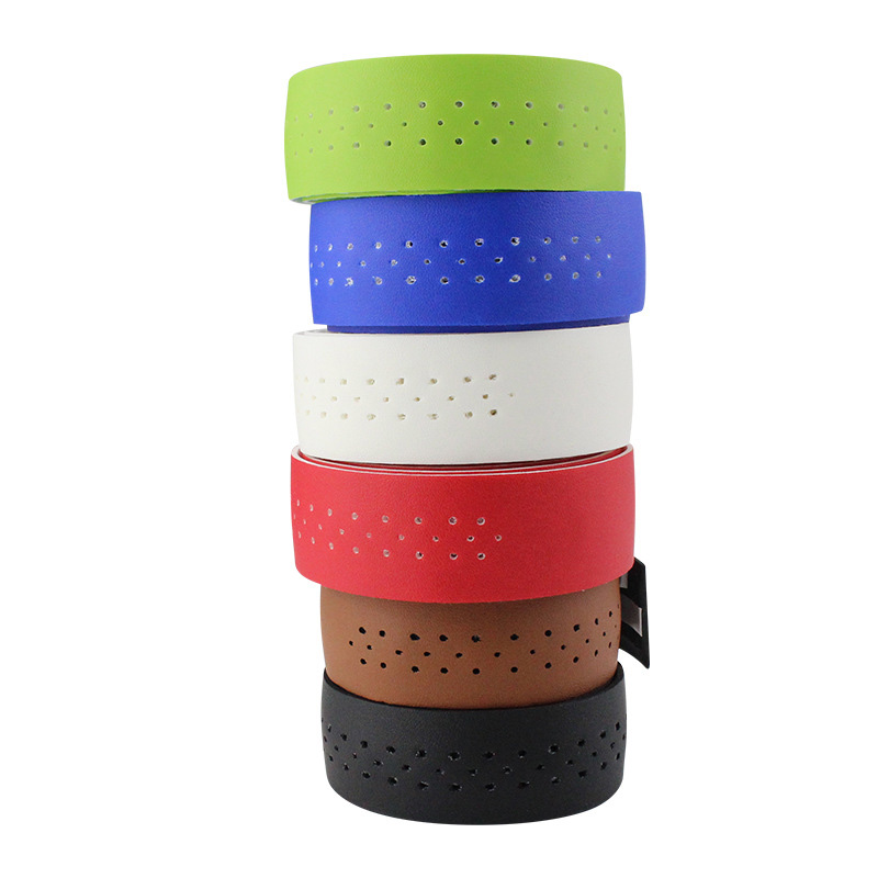 Bicycle Handlebar Tape Mountain Road Bike PU Leather Perforated Belt With 2 Plugs Breathable Handle Bar Wrap Straps RR7188