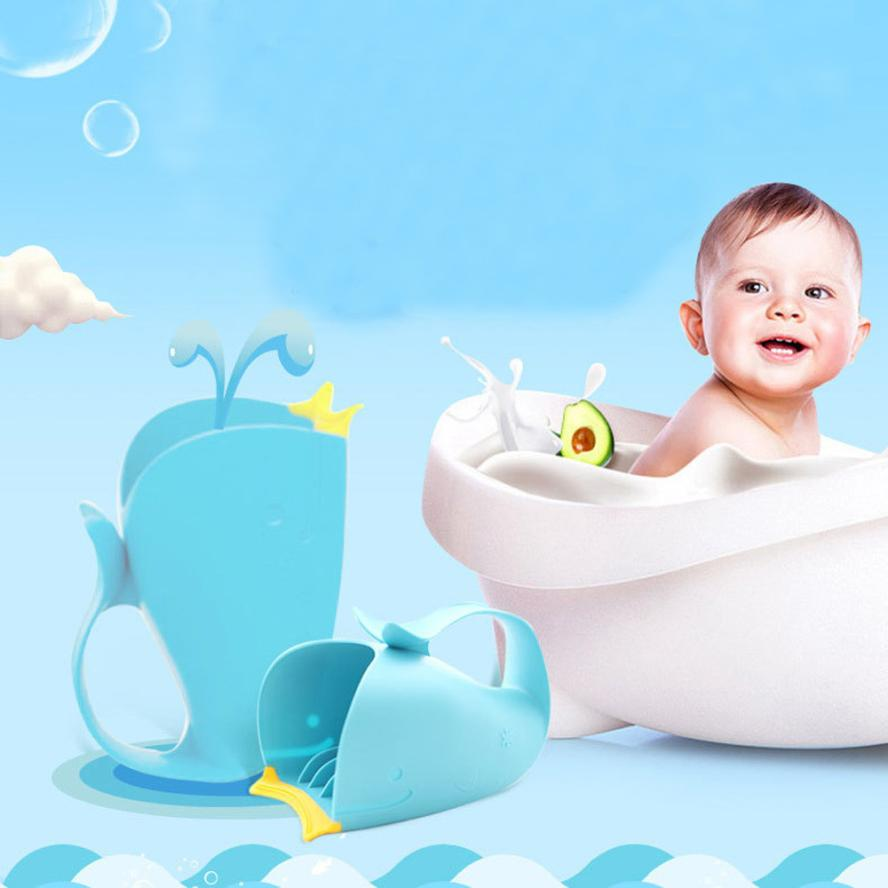 Tear Free Waterfall Rinser Blue Cartoon Whale Bathing Water Spoon ...
