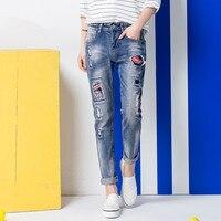 Venta caliente de Las Mujeres ripped jeans boyfriend jeans de Moda para mujer Loose agujero pantalones de mezclilla Envío libre