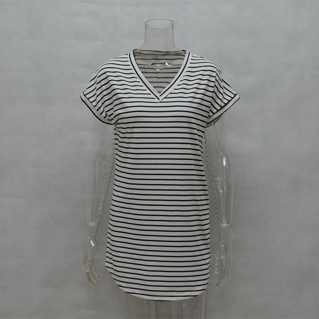 Casual Striped Dress V Neck Sexy Women Cotton Straight Long T Shirt Top Tee Boho vestido Summer Style Beach Wear Preppy Desses  3