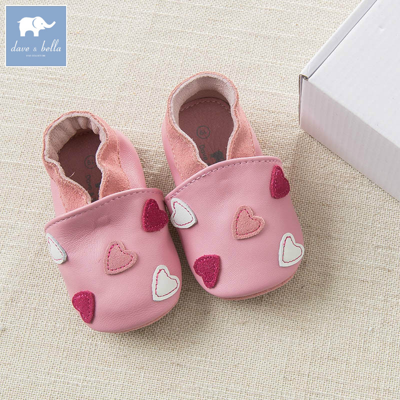 DB6931 Dave Bella baby girls soft first walkers baby genuine leather first-step pink shoes