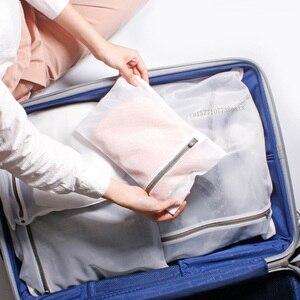 Image 2 - Youpin 3 sztuk zapinana na zamek składana nylonowa torba na pranie biustonosz skarpetki bielizna pralka do odzieży siatka ochronna worki siatkowe