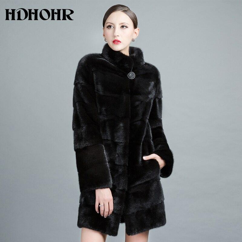 HDHOHR Новинка 2017 года реального норки пальто Для женщин натуральный Импорт норки пальто Зимние теплые модные Шубы Длинные норки Куртки