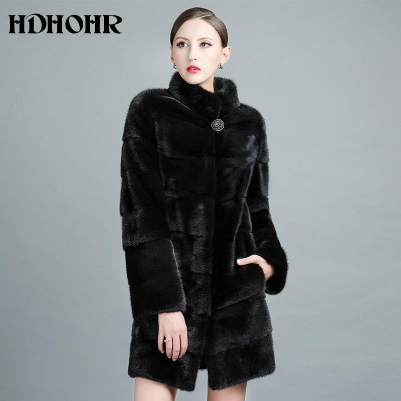 HDHOHR 2018 Новый реального норки пальто Для женщин натуральный Импорт норки пальто Зимние теплые модные шубы долго норки куртки