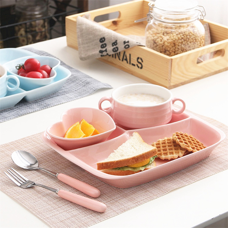 Ceramic Grid Plate Heart Shaped Bowl Dishes Trays Kids