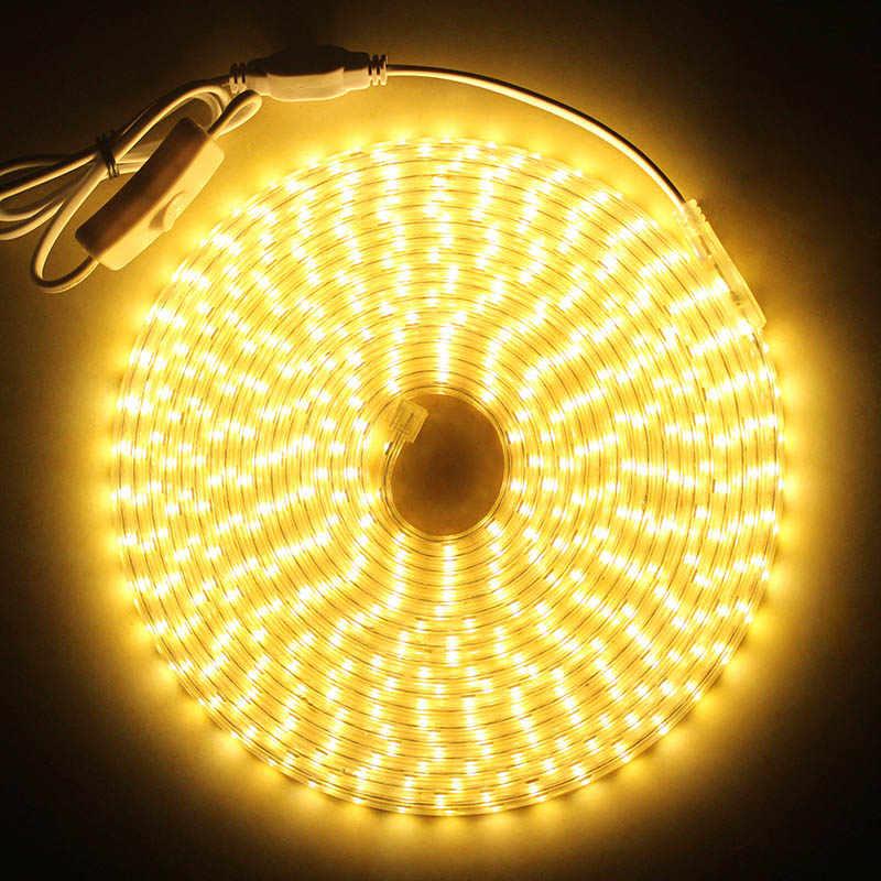 Светодиодный полосы света с кнопка включения/выключения AC220V гибкий светодиодный свет ленты IP68 водонепроницаемая светодиодная лента 60 Светодиодный s/M на открытом воздухе Ленточные светодиодные светильники