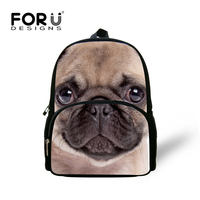 FORUDESIGNS Cute 12inch French Pug Dog Backpack Printing Horse Husky Rucksack for Boys Girls Small Kids Kindergarten Backpack