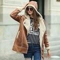 Вери гуд Искусственного Меха женщин Пальто для Зимы Искусственного Замша Теплый Капюшоном Пальто
