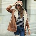 Veri Gude Women's Faux Fur Coat for Winter Faux Suede Leather Warm Hooded Coat