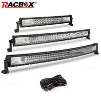 Tri row 5 12 18 20 22 32 42 inch Curved Led Light Bar Offroad Led Bar Flood Spot Combo Beam 12V 24V for ATV LED Work Light Bar