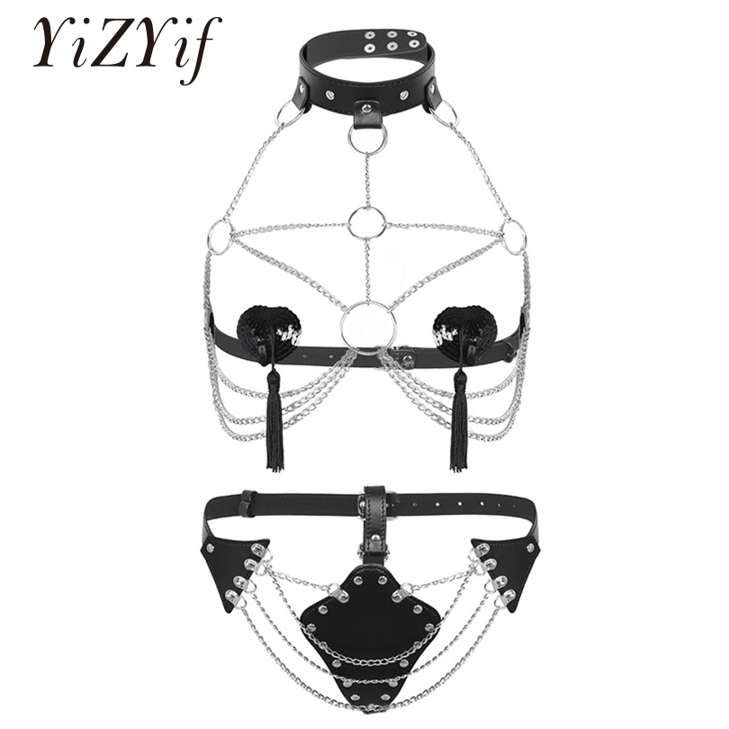 YiZYiF Women Sexy Lingerie harness bra Open Bust Body Chest Harness Chain gothic fetish garter belt bondage harness Underwear chifres malevola png