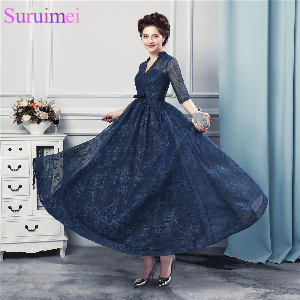 New Arrival <font><b>Tea</b></font> <font><b>Length</b></font> <font><b>Prom</b></font> <font><b>Dresses</b></font> Lace With Jacket Backless Navy Blue <font><b>Prom</b></font> Gown Half Sleeves image
