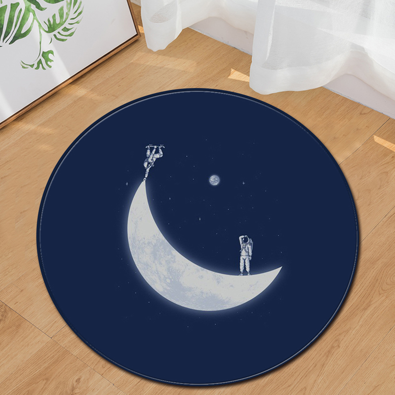 EHOMEBUY New Arrival Carpet Moon Skateboard Astronaut Round Carpet Bedroom Living Room Home Hotel Floor Decoration Round Footpad