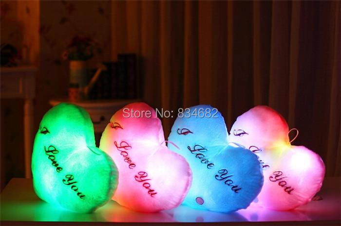 Led Light Pillow,plush Pillow Flashing J.g Chen Juguetes Brinquedos Christmas Toys Birthday Gift Hot Colorful Heart Cushion