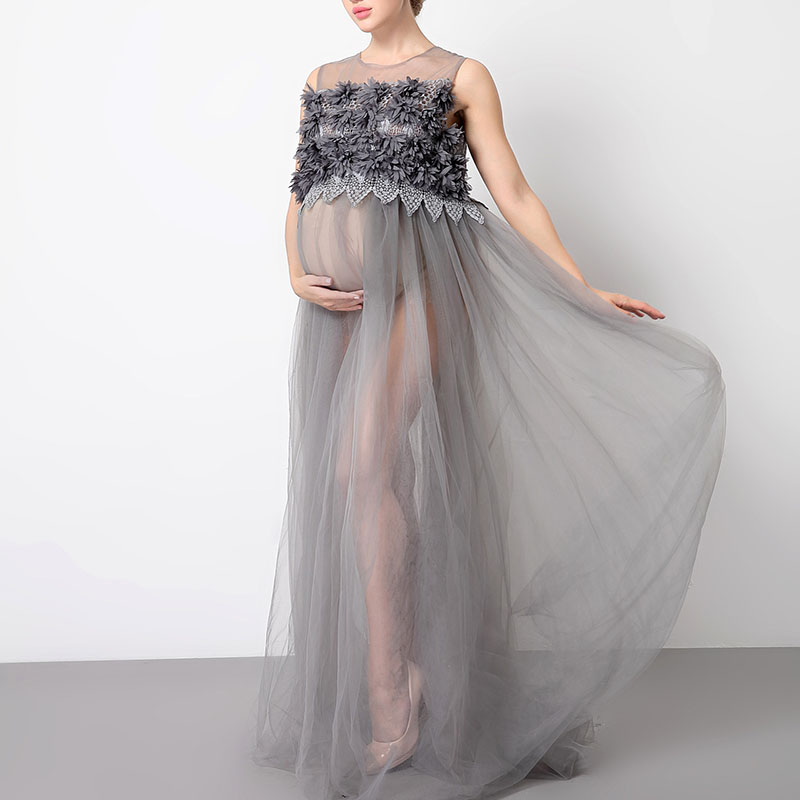Lace Maternity Dresses For Baby Shower: Fashion Long Lace Dress For Pregnant Women Photography