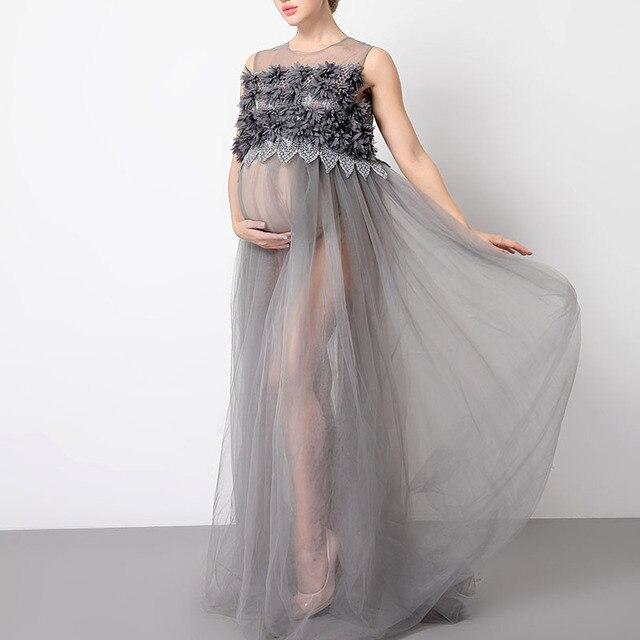 c39e6f314 Vestido largo de encaje de moda para mujeres Embarazadas Fotografía Props  maternidad foto sesión de fotos