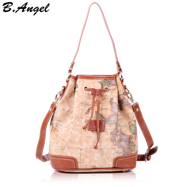 2016 stars war message fashion high quality woman handbag shoulder bag messenger bag crossbody Barrel-shaped world map  in PVC