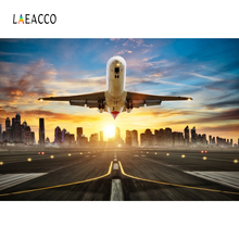 Laeacco Sunlight Airport Airplane Flying Building Portrait Scene Photographic Backgrounds Photography Backdrops For Photo Studio