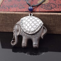 Handmade Braided Wooden Cloisonne Necklace New Jewelry Elephant Animal Shell Beach Vintage Necklace