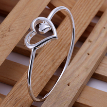 2015 new arrived 925 sterling silver jewelry  from india fashion double heart bangle open cuff bracelet for women' Fine jewerly