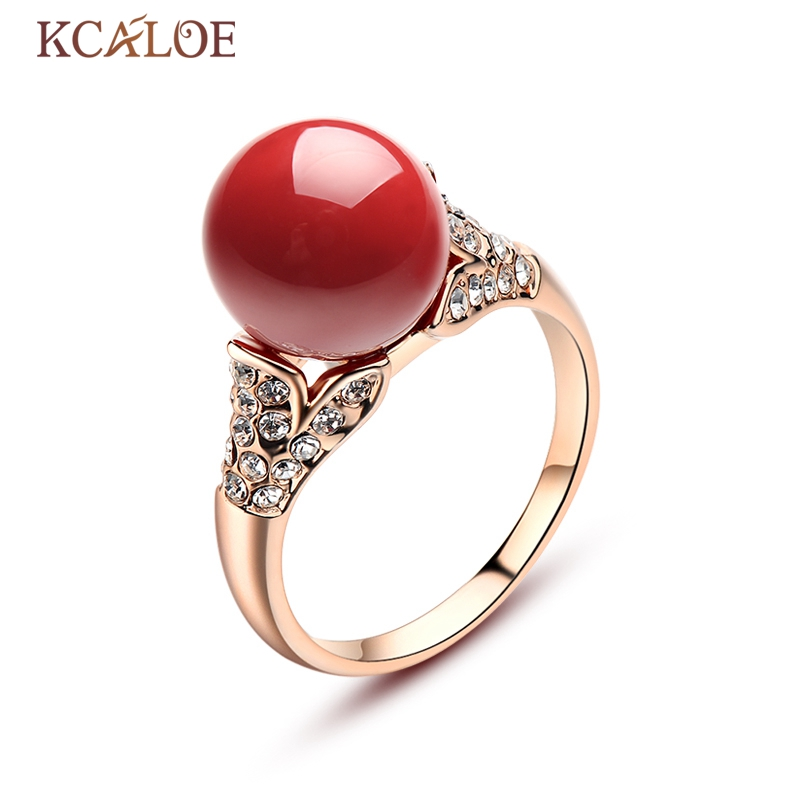 KCALOE Red Artificia Coral Rings Austrian Crystal Engagement Women Jewelry Silver/Rose Gold Color Round Ball Natural Stone Ring