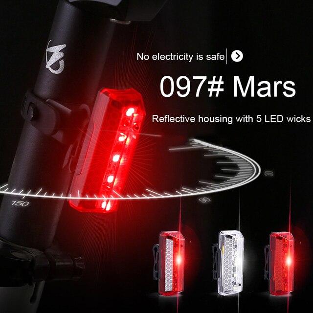 Feu arrière de bicyclette LED Rechargeable par USB COB VTT, feu davertissement de sécurité pour vtt, lumière de bicyclette imperméable