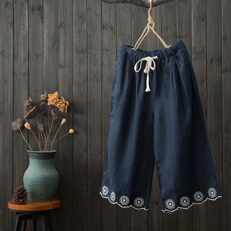 National style summer new literary cotton and linen casual pants women's pants elastic waist hollow embroidery wide leg pants