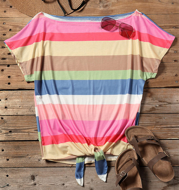Fashion Striped Off Shoulder Tie Top