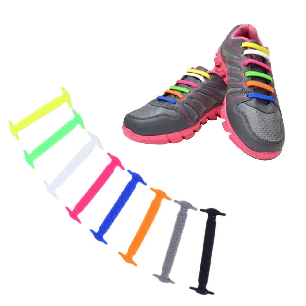 16Pc/Set Novelty Women Men Athletic Running No Tie Shoelaces Elastic Silicone Shoe Lace All Sneakers Fit Strap Worldwide Sale