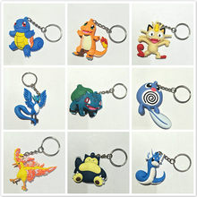 1pcs Rubber Double Sided Pattern Dragon Ball Pet Elves Characters Cartoon Animals Keychain Toys Hulk Keyring Key Gift Toys(China)