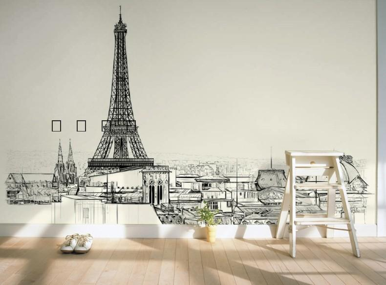free shipping eiffel tower line drawing sketch wallpaper modern minimalist style sofa tv background wall mural