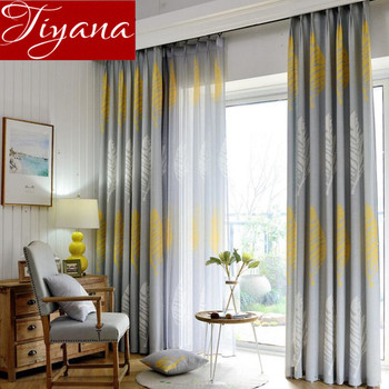 Rustic Curtains Leaves Print Voile Modern Window Living Room Bedroom Tulle Curtain Kitchen Drapes Fabric Home textile X343 #30 wire