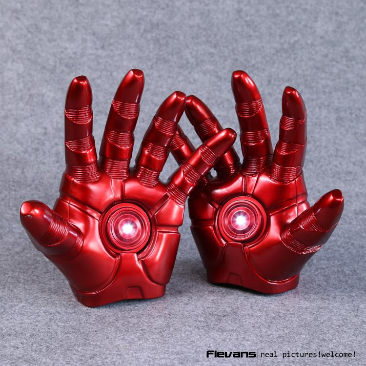 Iron Man Gloves with LED Light PVC Action Figures Collectible Model Toy 8 20cm 2pcs pair