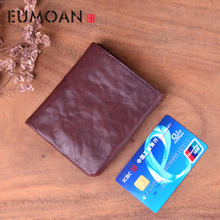 EUMOAN Original handmade retro mens short wallet vertical casual bag leather small