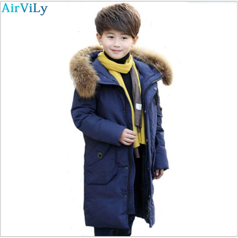 -30 Degrees Boy Long Section Down Jacket Boys Russia Cold Winter Thickening Warm Duck Down Jackets Children Big Fur Collar Coats