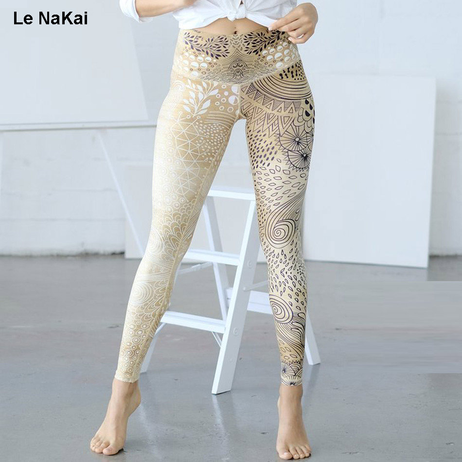 Le NaKai Retro Bohemia print women yoga legging fitness yellow print yoga pants sexy leopard print high waist sports gym tights