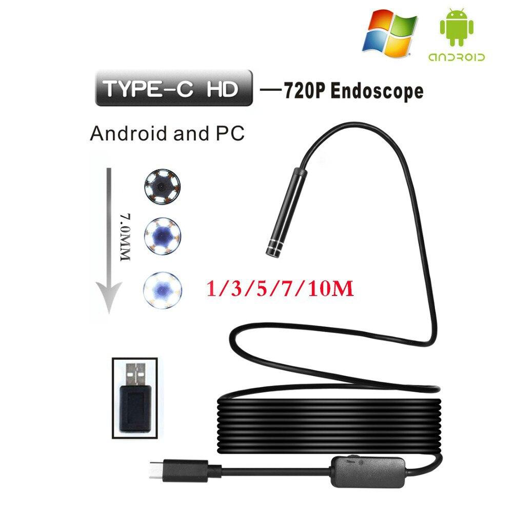 6 Leds 7MM 480p Waterproof Android Endoscope Type C Port Inspection Borescope Endoscopic Camera 1/M/3M/5M/7M/10M Length