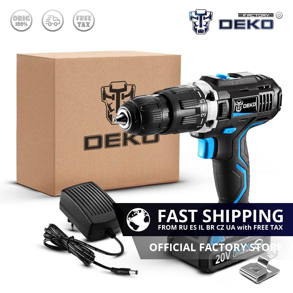 Factory Outlet DEKO GCD20DU3 20V Max DC Electric Screwdriver Impact Cordless Drill Lithium Ion Mini Power